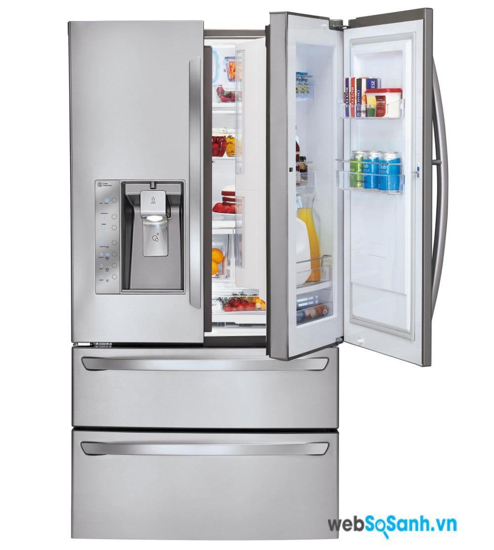 Nhiều tủ lạnh side by side có thiết kế cửa trong cửa rất tiện dụng