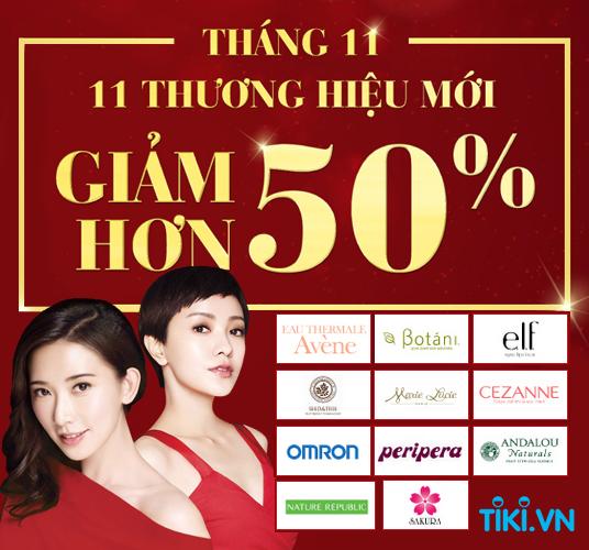 [ Tiki.vn ] Ngày hội thương hiệu tháng 11, giảm hơn 50% sản phẩm của 11 thương hiệu mới