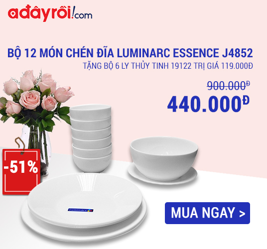 [ Adayroi.com ] Miễn phí vận chuyển và giảm ngay 51% khi mua Bộ 12 món chén đĩa Luminarc ngay hôm nay. XEM NGAY !