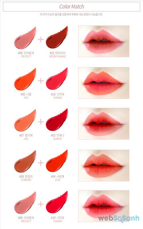 Một điều đặc biệt là bạn có thể mix 2 màu son của Agapan Pit A Pat Matte Lipstick với nhau để tạo ra một màu mới